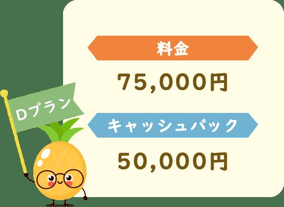 料金75,000円キャッシュパック50,000円
