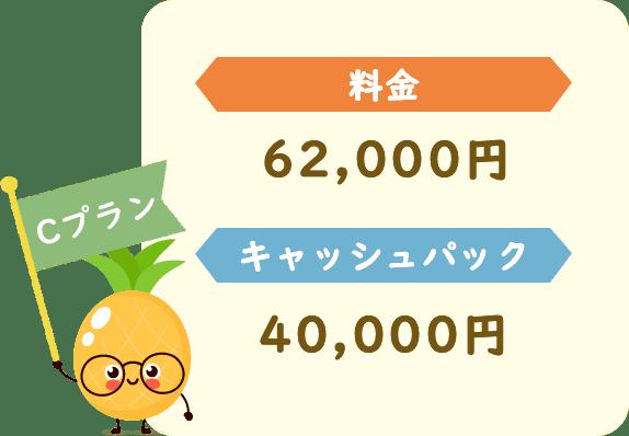 料金62,000円キャッシュパック40,000円